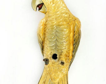 Paper Mache Parrot Tropical Hand-Painted Yellow Vintage Decorative Art Bird Sergio Bustamante Large