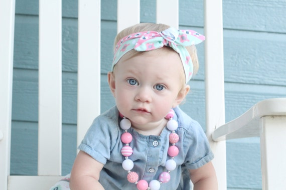 Mint and Pink Tribal Baby Top Knot Headband Aztec Adult Knot Headband Tribal Baby Headwrap Adult Headwrap Knotted Headband Knotted Headwrap