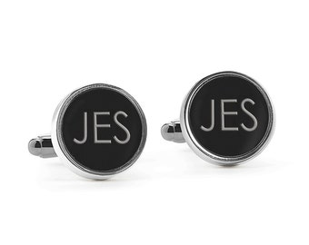 Cuff Links - Engraved Cuff Links - Round Cuff Links - Groom Gift - Round Black Cuff Links - Personalized Cuff Links - Engraved - Custom
