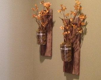 2 Mason Jar Wall Vases