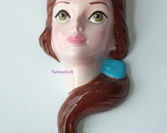 Vintage Princess Belle 9 inches Ceramic Face Wall Hanging Sculpture Disney Beauty and the Beast Schmid The Walt Disney Co Collectible Gift