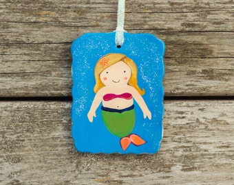 Hand Painted Mermaid Ornament with Personalization