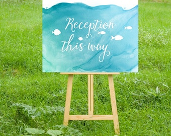 The CHRISTY . Directional Arrow Wedding Sign . White Calligraphy & Watercolor Teal Blue Fish Ceremony Reception . PRINTS Include Shipping