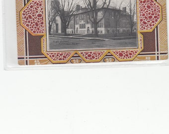 Unique Arts And Crafts Border Postcard, Super Elements C 1910 Building In Center