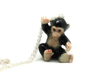 Chimpanzee Necklace, Charm Necklace, Charm Jewelry, Chimpanzee Pendant, Chimpanzee Jewelry, Chimpanzee Charm, Jewelry Gift, Monkey Necklace