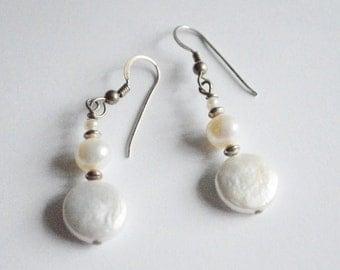 Vintage Sterling Silver Genuine Pearl Beaded Dangle Earrings