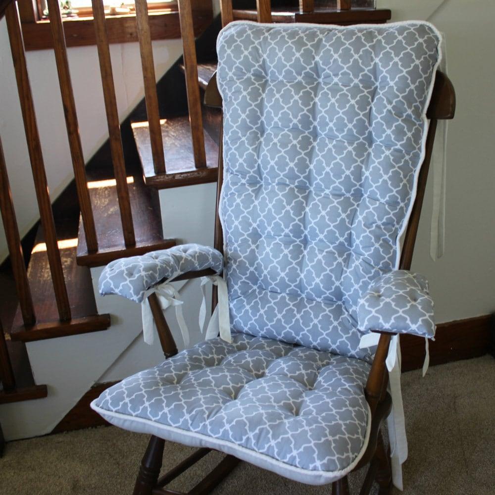 Custom gray quatrefoil rocking chair cushions glider