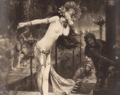 Salomé by Gaston Bussière, Fine Art Painting Mysterious Semi Nude Belly Dancer Harem Orientalist Beauty Original 1900s French Rare Postcard