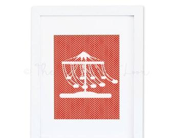 Red geometric herringbone print swings carnival fair children 8x10 digital printable wall art print