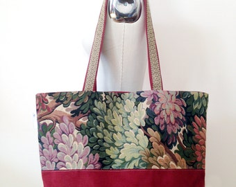 Canvas Tote Bag, Floral Tote Bag, Large Fall Tote Bag, Teacher's Bag, Large Laptop Bag, Big Tote Bag, Back to School Bag, Tote Bag Pockets