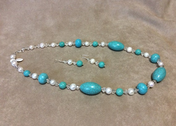 SALE  Necklace Sterling Silver Earrings set Turquoise Beads Fresh Water Pearls Crystals  CL1558