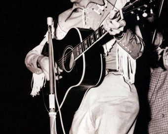 Hank Wililams Poster, Country Music Legend, Live in Concert, Playing Guitar and Singing