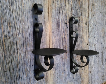 Two Metal Candle Holders Rustic Black Wrought Iron Wall Sconce For Pillar  Candles (set Of