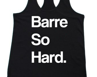 Barre So Hard Tank. Black Racerback Workout Tank. Size S-XL