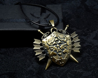 Zelda Hylian Shield Triforce Necklace pendant gold Legend of Zelda Link game gift chain jewelry