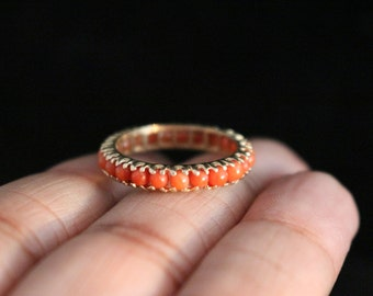 Coral eternity ring,14k yellow gold