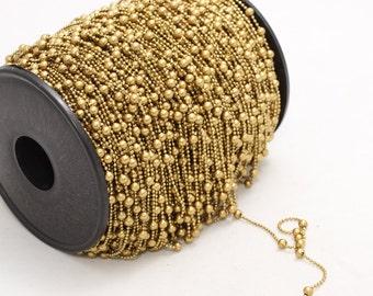 3,3 Feet Raw Brass Ball Chains, Satellite Chains, (1,2mm) Brass Ball Chains ,  KJewelryMetal , rbb