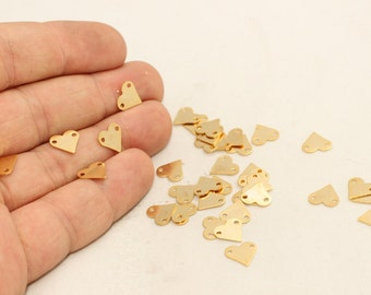 25 Pcs 24k Gold Plated Heart Charms, 9mm , Heart, Heart Coins, Two Holes Heart , Heart Stamp, RD, BRT225