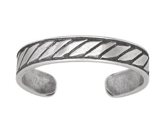 Sterling Silver .925 Diagonal Striped Toe Ring adjustable size | Made In USA