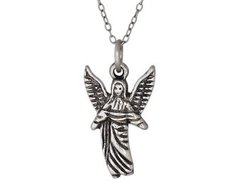 Sterling Silver .925 Archangel Gabriel, Angel of Revelation, Charm Pendant, Oxidized | Made in USA