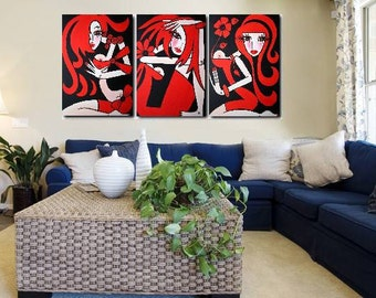 180 x 80 cm -TRIPTYCH - Large Abstract Painting - Original Modern Pop Art - Abstract Modern Figure Art, Woman Painting