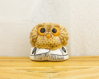 Vintage 1970s Ceramic Owl in Sneakers Planter