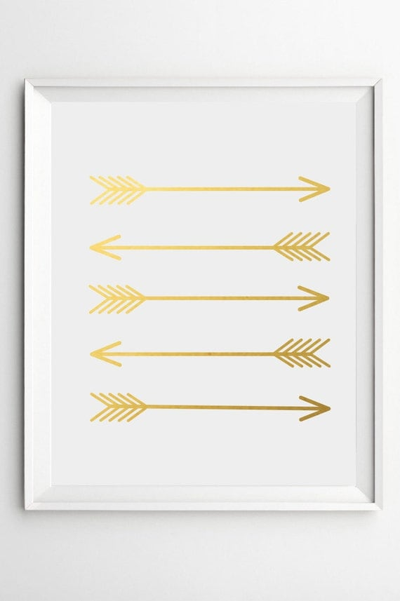 Gold Arrow Wall Decor : Gold wall art arrow prints