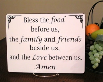 Bless The Food Before Us Sign Kitchen Dining Room Decor Dinner Table