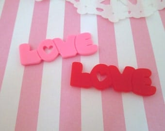 "Red and Pink ""Love"" Valentine's Resin Cabochons, Pick Your Amount, #302a"