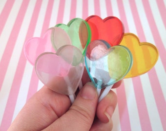 6 Fake Candy Heart Lollipop Cabochons, #210