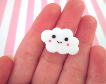White Happy Cloud Cabochons, Sweet Kawaii Cabs #670a