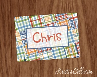 Boys Personalized Note Cards Notecards - Personal Boys Male Masculine Preppy Stationery Stationary - Custom Madras Thank You Notes
