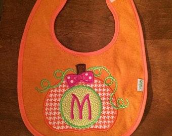 Pumpkin Bib -  Applique - Monogram Bib - Fall Bib - Monogram Pumpkin Bib - Custom Bib - Halloween Bib - Monogrammed Pumpkin Bib