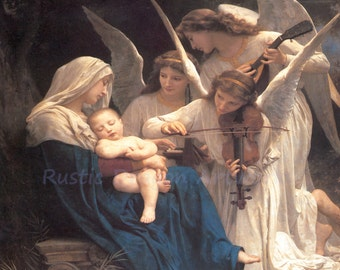 "William Bouquereau ""Song of the Angels"" 1881 Reproduction Digital Print Virgin and Child Angels Archangels Christianity"