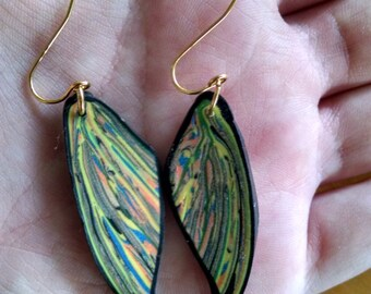 Polymer Clay Leaf Earrings (Green)