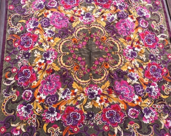 Silk Bohemian Scarf/Wallhanging with Colorful Floral Design