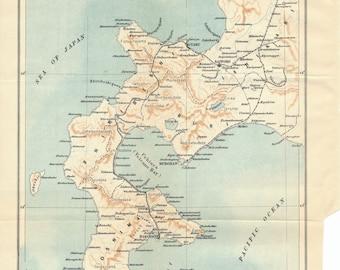 1907 Hokkaido Japan Antique Map
