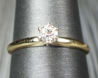 Vintage 14k Gold Diamond Ring Old European Cut Diamond Engagement Ring Yellow Gold Solitaire Vintage Diamond Engagement Approx 1/4 Carat