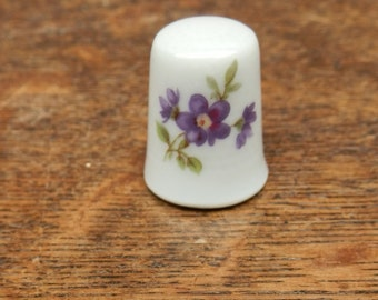 Vintage Limoges Pink and Purple Floral Thimble