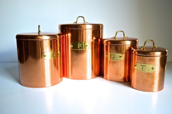 copper canister set kitchen vintage copper kitchen canisters brass handles by atomichawks 16850