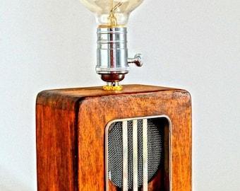 Retro redio lighting.Wood Industrial lamp.Wood Rustic lighting Edison Bulbs