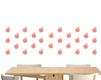 Apples wall decal, Vinyl Wall Decal,Choose your Color apple, Wall Stickers, Geometric wall decal, apples, stickers, Home Decor