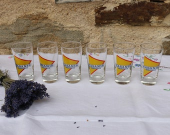 Original French Vintage Iconic CASANIS. Set of 6 x glasses. French Cafe Bar Chic.