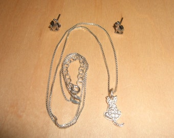 Vintage Sterling Silver CZ Cat Necklace & Stud Earrings A Cute Lot Beautifully Made