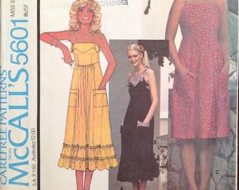 McCalls 5601 - 1970s Laura Ashley High Waisted Summer Dress - Size 12