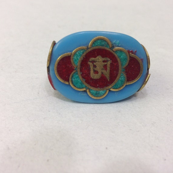 Rings Tibetan Turquoise Resin  Ring Brass Etched Coral Turquoise Overlay Ring Handcrafted Handmade Jewelry Unique