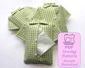 PDF shirt tissue holder, shirt kleenex holder, PDF sewing pattern shirt tissue holder, tutorial shirt tissue holder, pdf tissue holder