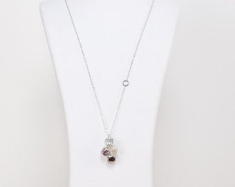 Cypres seeds pendant in sterling silver with aquamarine, granat, amethyst and fresh water pearl