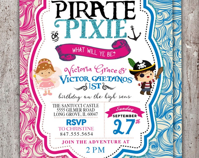 Pirates,Princess, Pixie Party Invitations, Pirate, Princess, Pixie Birthday Invitation, Princess and Pirate invitation ,Twins, fairy, baby