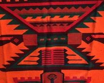 Large Vintage Wool Rug Mexican Southwestern Geometric Folk Art Handmade